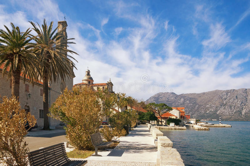 Embankment of coastal town of Prcanj. Bay of Kotor, Montenegro royalty free stock photo
