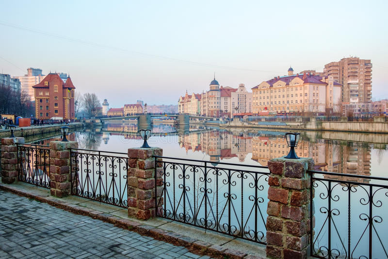 Embankment of the Fishing Village. Kaliningrad stock images