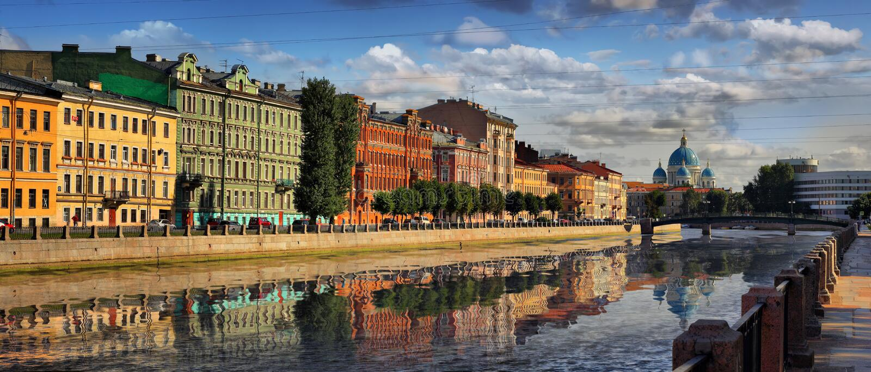 Embankment of the Fontanka river in Saint Petersburg royalty free stock images