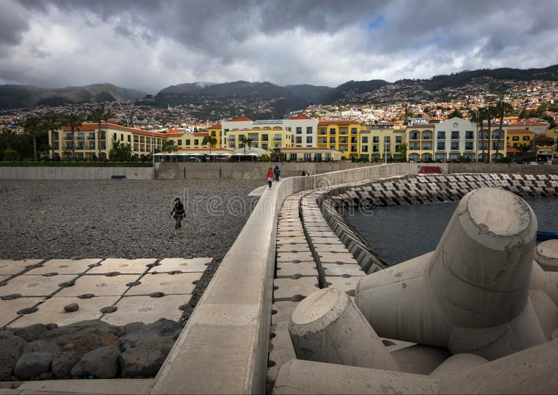The embankment of Funchal. Coastline. Madeira Island. Portugal stock images