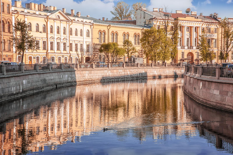Embankment of Griboedov channel early in the morning St. Petersburg stock images