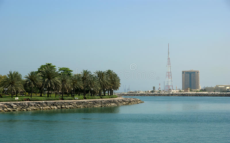 Embankment of the Gulf of Oman. Al Mamzar Beach and Park. Dubai, United Arab Emirates (UAE royalty free stock photography