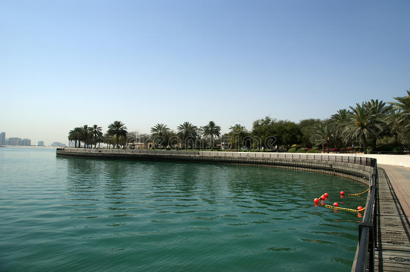 Embankment of the Gulf of Oman. Al Mamzar Beach and Park. Dubai. United Arab Emirates (UAE royalty free stock photo