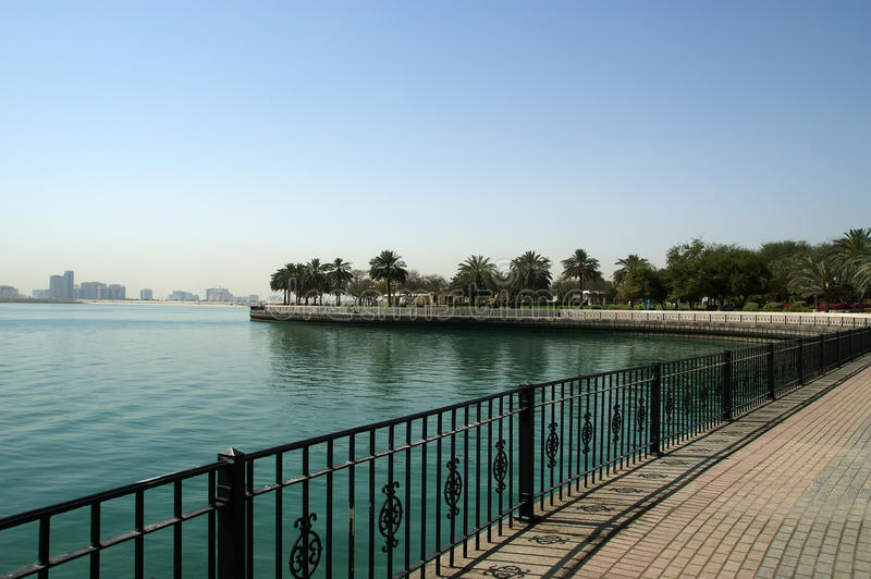 Embankment of the Gulf of Oman. Al Mamzar Beach and Park. Dubai. United Arab Emirates (UAE royalty free stock photos