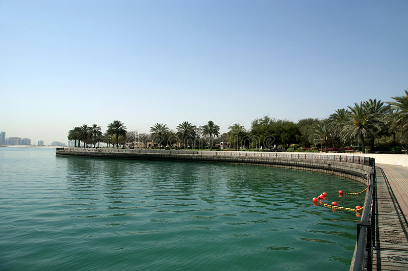 Embankment of the Gulf of Oman. Al Mamzar Beach and Park. Dubai,. United Arab Emirates (UAE stock photography