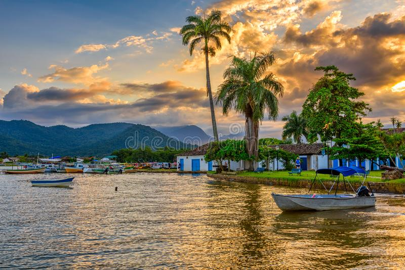 Embankment of historical center in Paraty at sunset, Rio de Janeiro, Brazil. Paraty is a preserved Portuguese colonial and Brazilian Imperial municipality royalty free stock photography