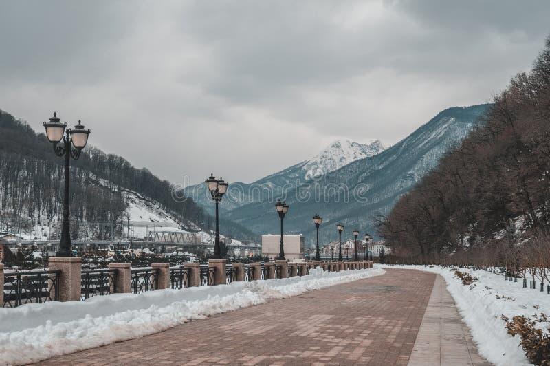 Embankment in Krasnaya Polyana royalty free stock image
