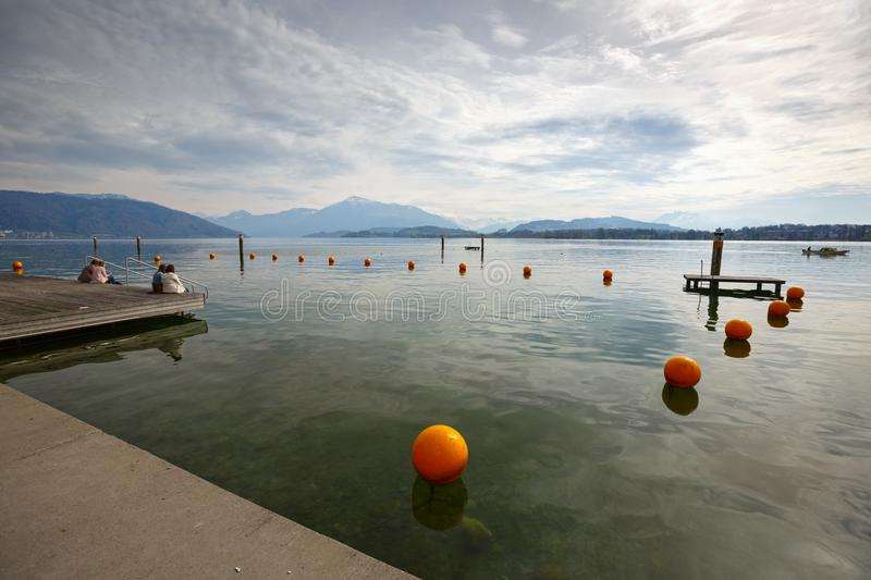 Embankment of the lake Zug. Town of Cham, canton of Zug, Switzerland. royalty free stock image
