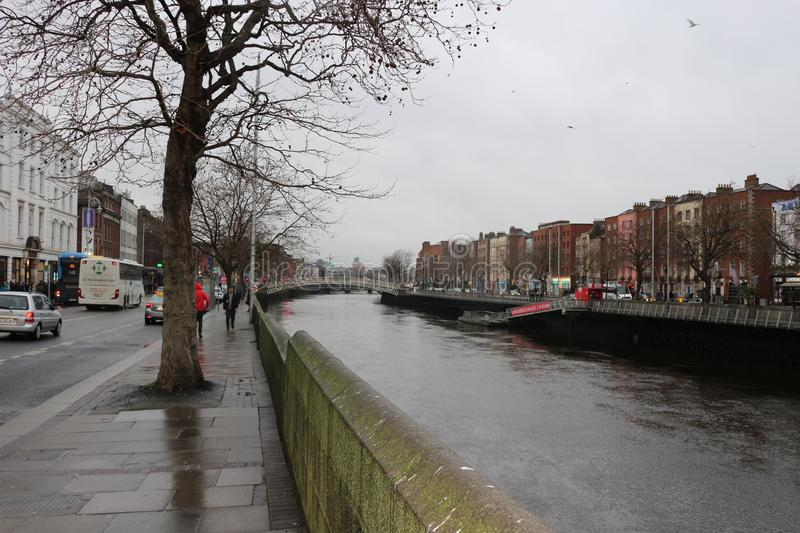 Embankment of Liffey River in Dublin, Ireland. stock images