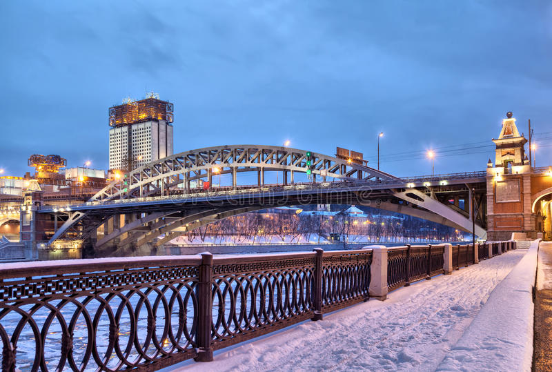 Embankment of Moscow river near Andreevsky bridge royalty free stock images