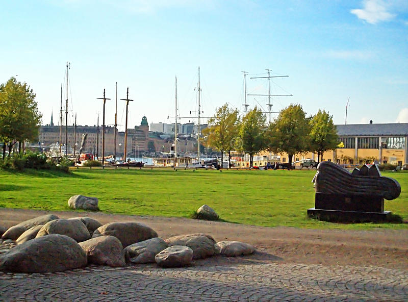 Embankment near Vasa museum, Stockholm stock images