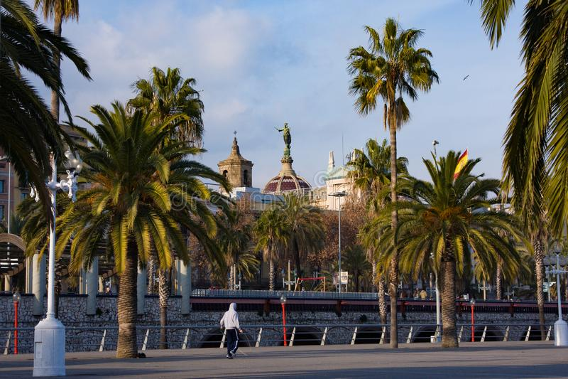 Embankment in Port Vell. Barcelona, Spain royalty free stock images