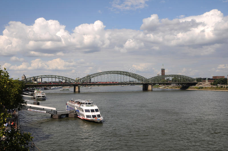 Embankment Of Rhine River In Cologne, Germany Editorial Stock Image