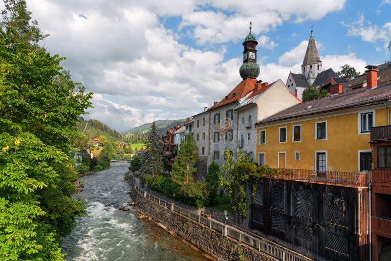Murau town, Styria, Austria, the Mur river embankment. Embankment of the river Mur in the historical town center of Murau. Styria, Austria stock image