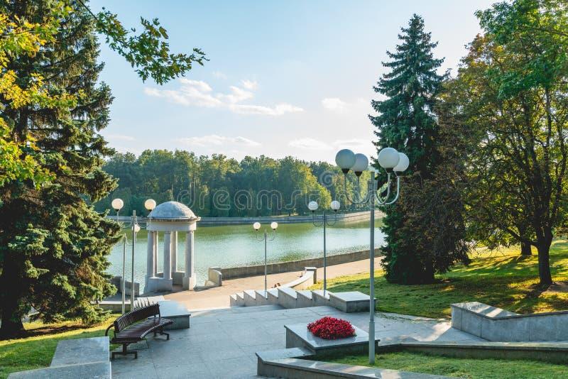 Minsk, Belarus. Svisloch River, promenade, and public park stock photos