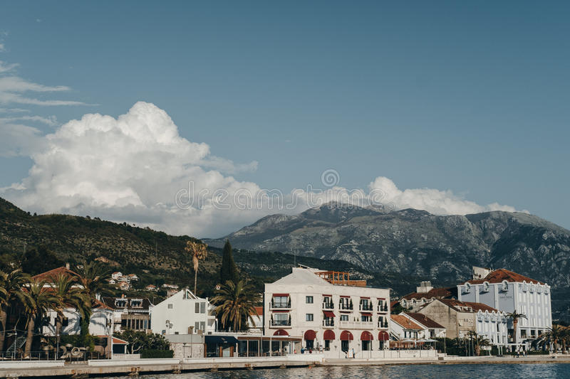 Embankment of Tivat city. View of Porto Montenegro hotels and Vi royalty free stock images