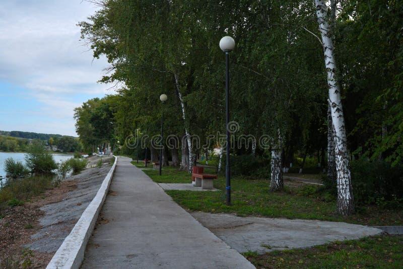 Embankment by the Volga River. Ulyanovsk Region. Sengiley city. royalty free stock images
