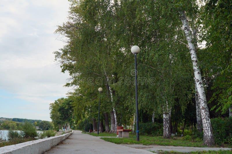 Embankment by the Volga River. Ulyanovsk Region. Sengiley city. stock image