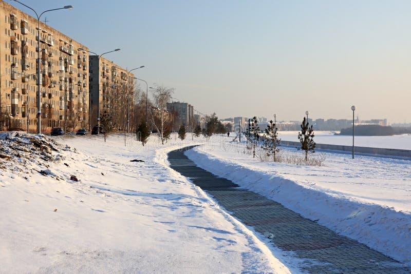 Embankment in winter. stock image