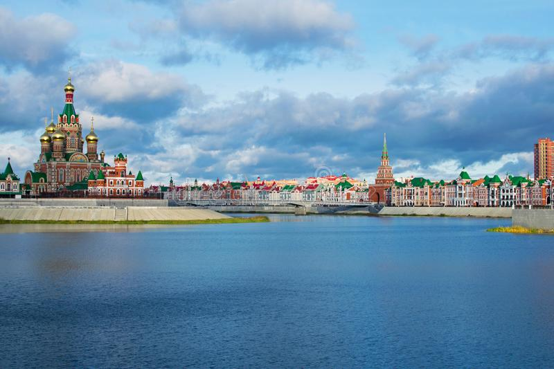 Embankment in Yoshkar-Ola. View of the Cathedral of the Annunciation. Russia, Republic of Mari El royalty free stock photo