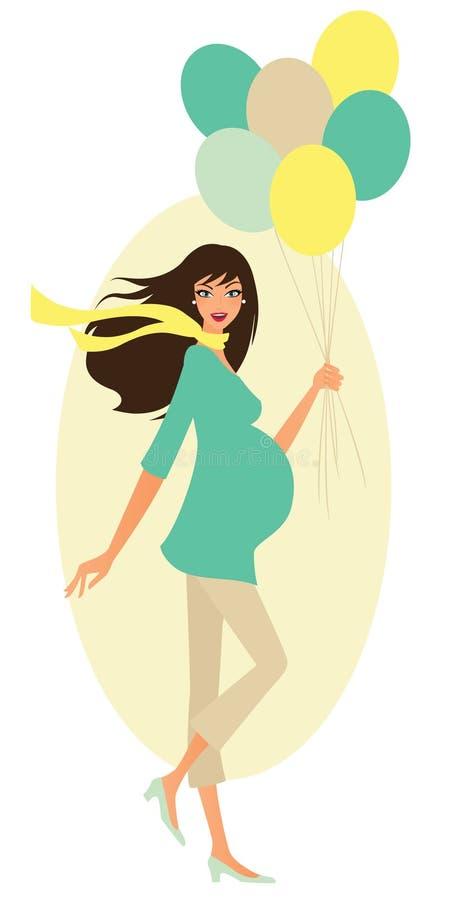 Embarazado con los globos ilustración del vector