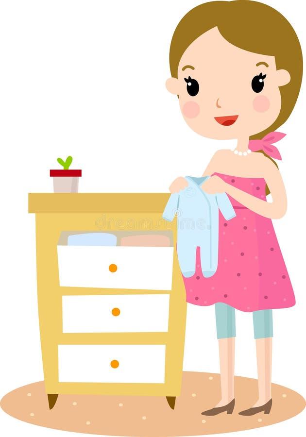 Embarazado con ropa del bebé ilustración del vector