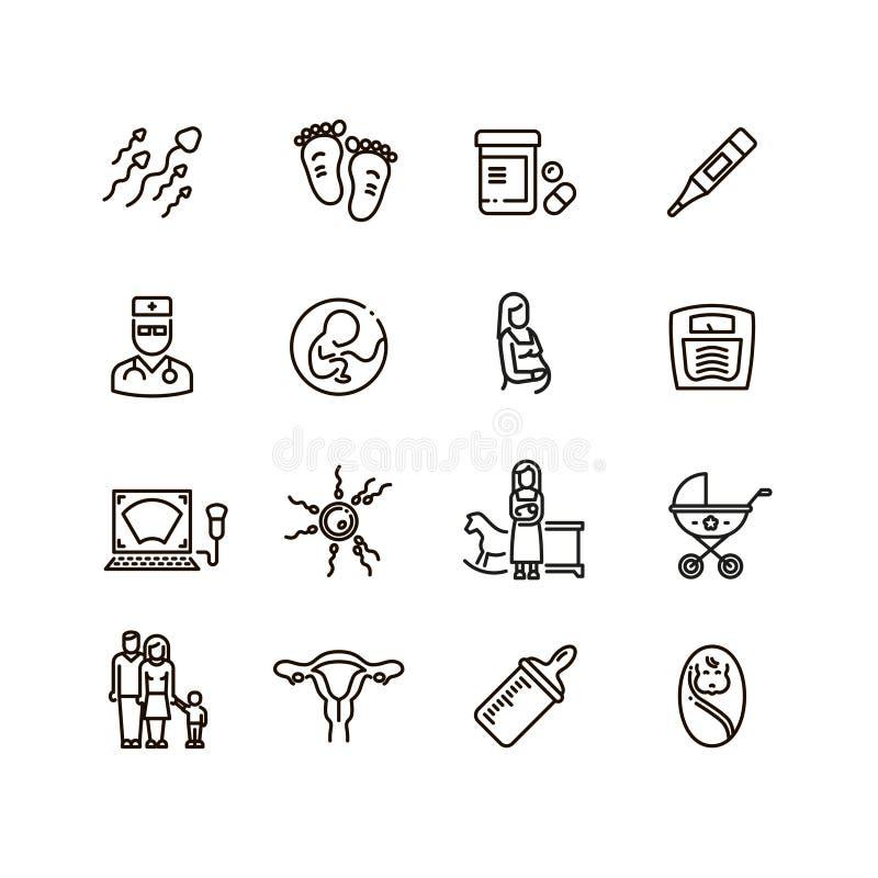 Embarazo y línea iconos del niño recién nacido del vector Maternidad y pictogramas del bebé del niño libre illustration