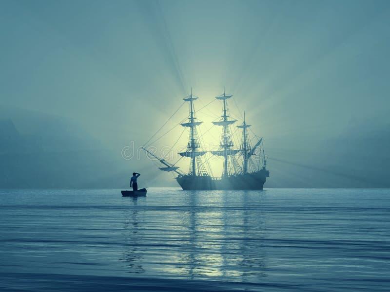Embarcação antiga no golfo ilustração royalty free