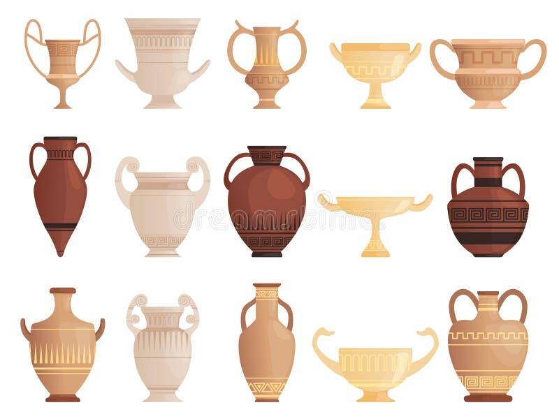 Embarcação antiga velha Copos e ânforas do jarro da argila com imagens antigas do vetor do jarro da cerâmica dos testes padrões ilustração stock