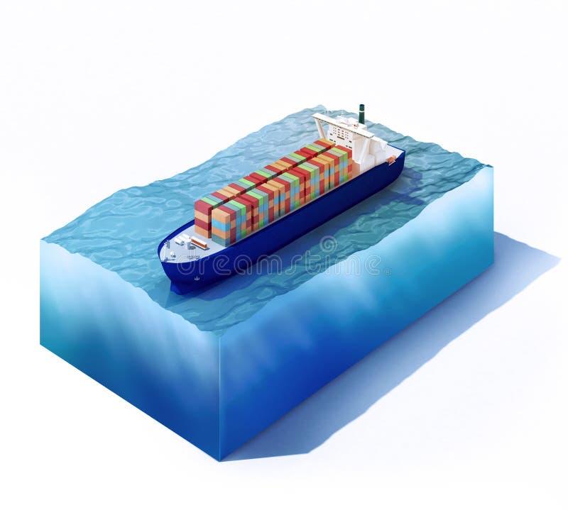 Embarcação de carga na parte do oceano ilustração do vetor