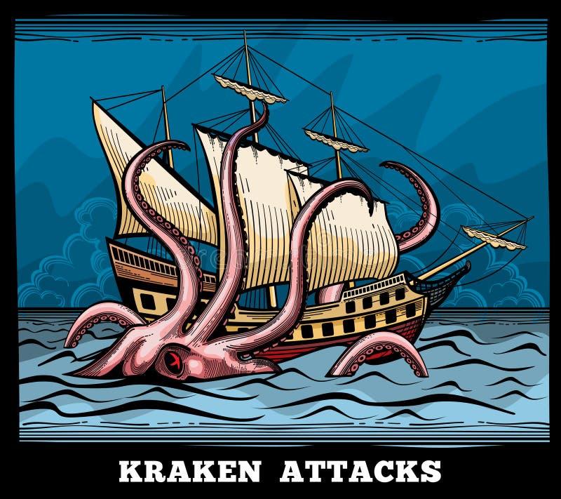 A embarcação de navigação e do monstro de Kraken polvo vector o logotipo no estilo dos desenhos animados ilustração do vetor