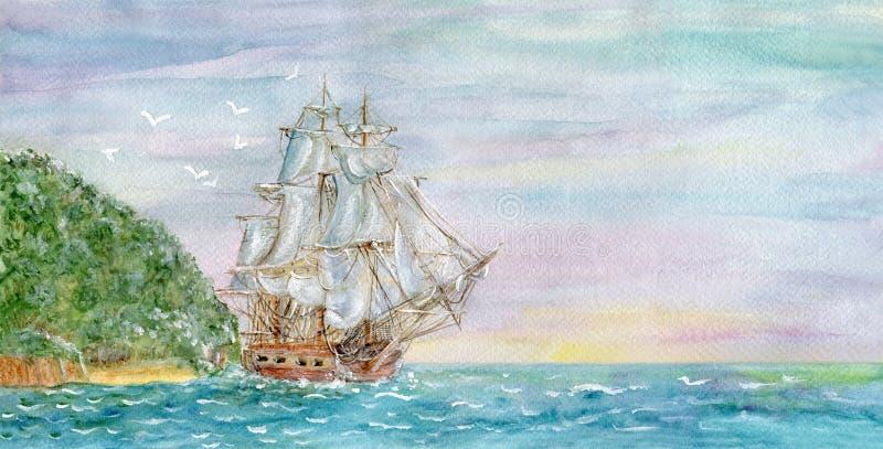 Embarcação de navigação e a ilha ilustração royalty free