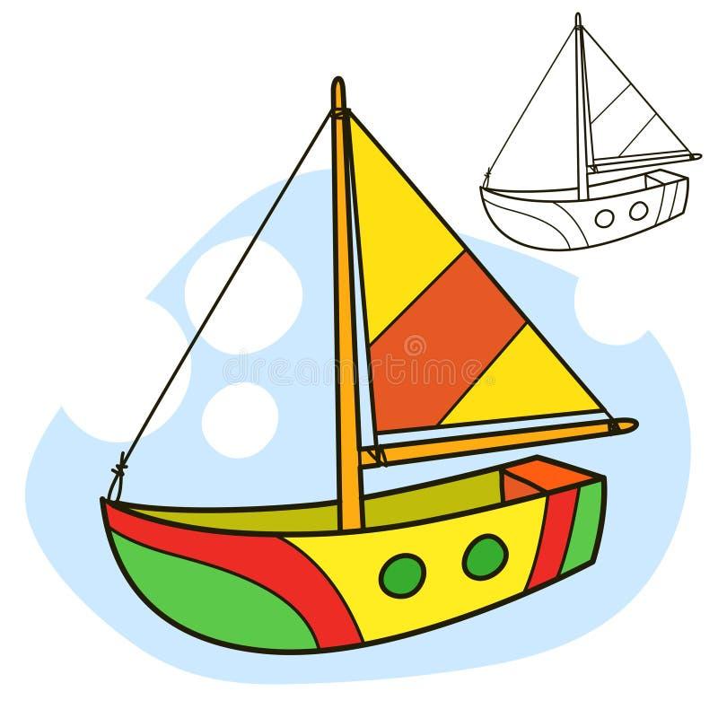 Embarcação de navigação Página do livro para colorir ilustração do vetor