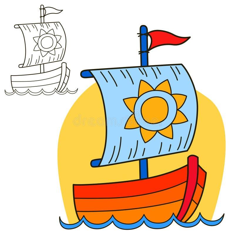 Embarcação de navigação Página do livro para colorir ilustração stock