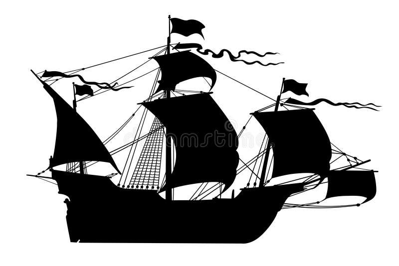 Embarcação de navigação velha preta do navio isolada ilustração do vetor