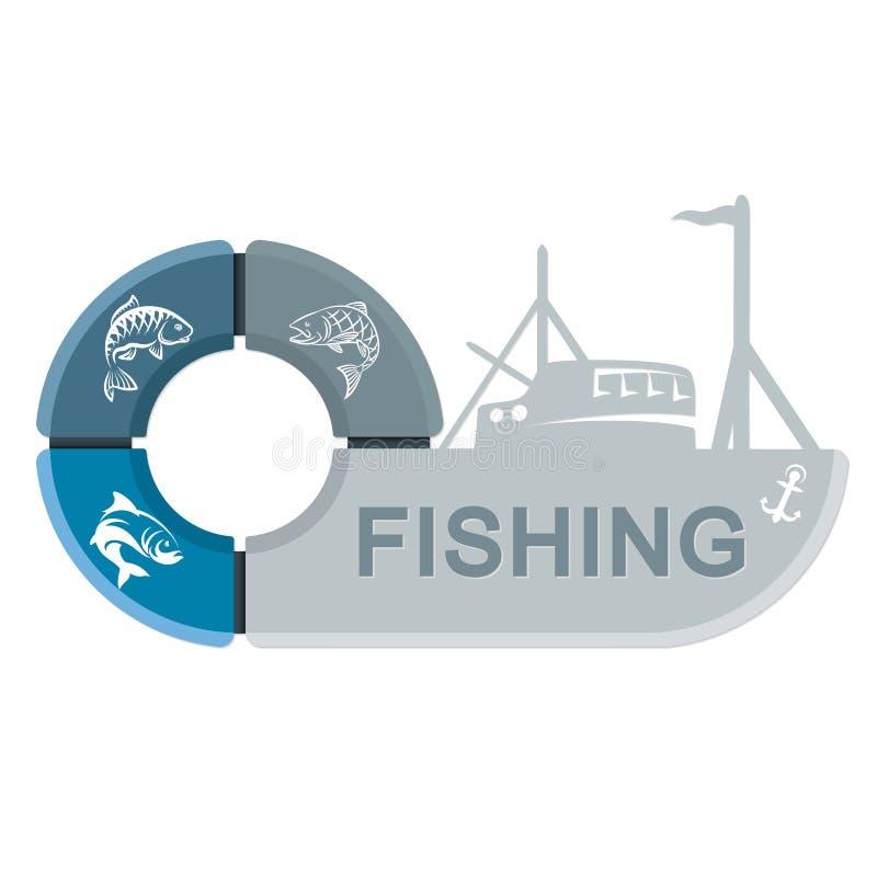 Embarcação de pesca com infographics ilustração do vetor