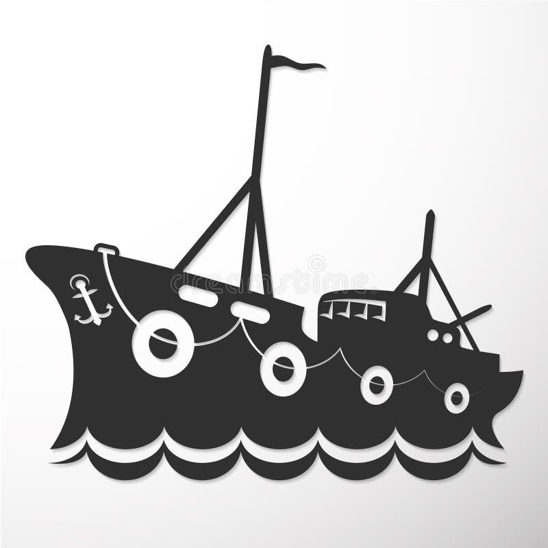 Embarcação de pesca da silhueta ilustração royalty free