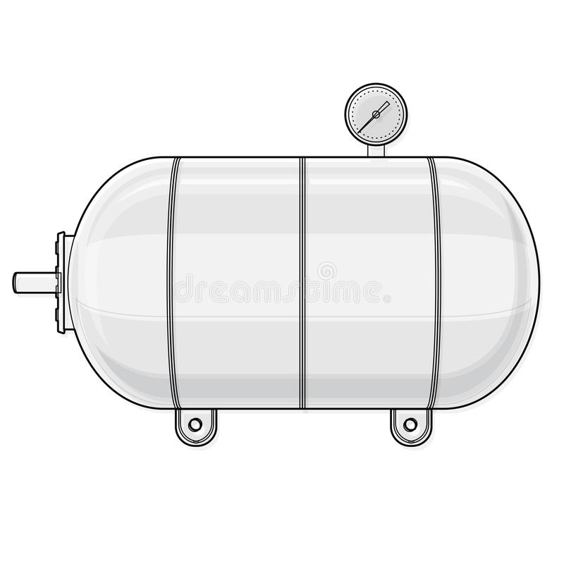 Embarcação de pressão esboçada para a água, gás, ar Tanque de pressão para o armazenamento do material ilustração stock