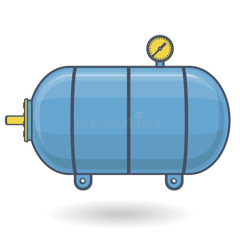 Embarcação de pressão esboçada para a água, gás, ar Tanque de pressão para o armazenamento do material ilustração do vetor