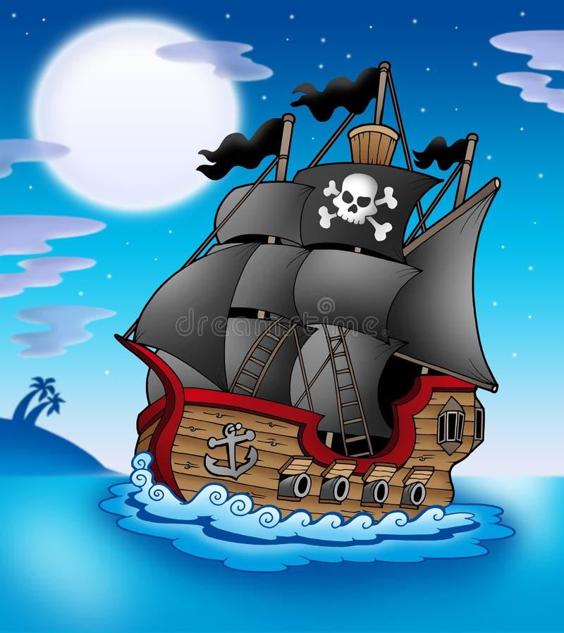 Embarcação do pirata na noite ilustração do vetor