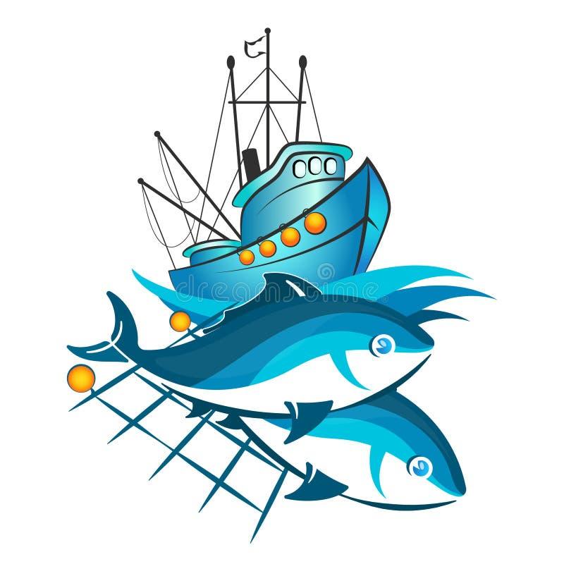Embarcação e peixes de pesca nas redes ilustração royalty free