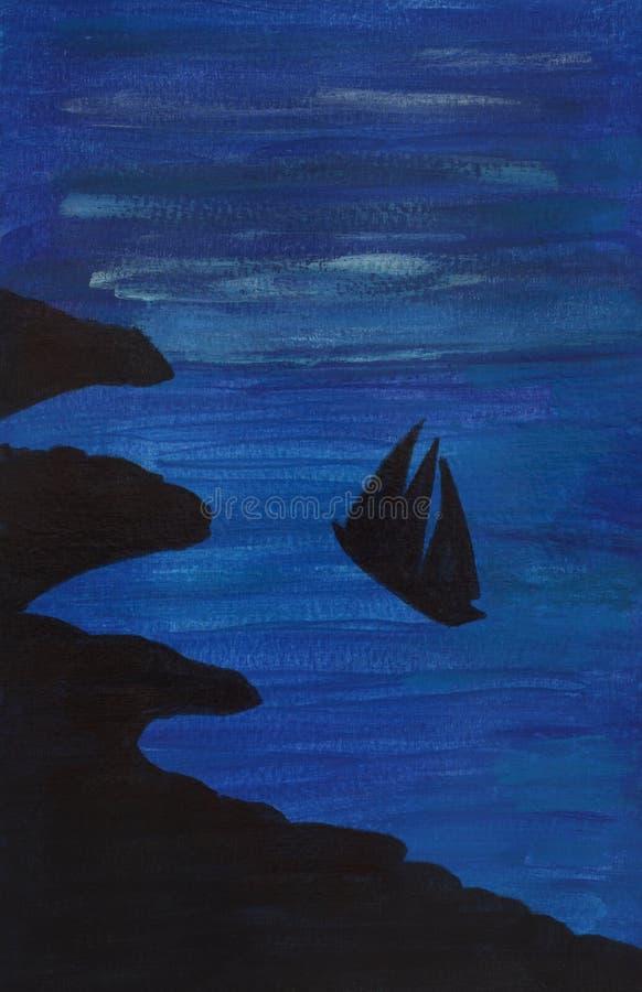 Embarcação no mar na ilustração da noite ilustração do vetor
