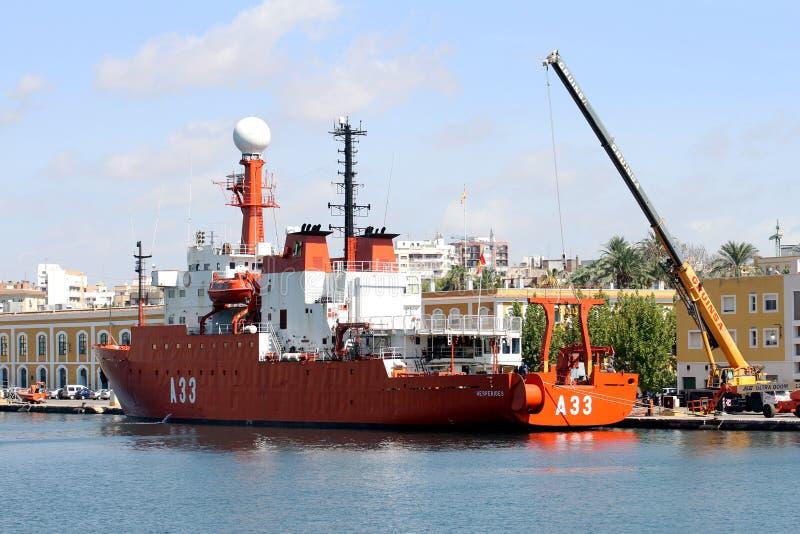 Embarcação oceanográfico Hesperides da marinha espanhola imagens de stock royalty free