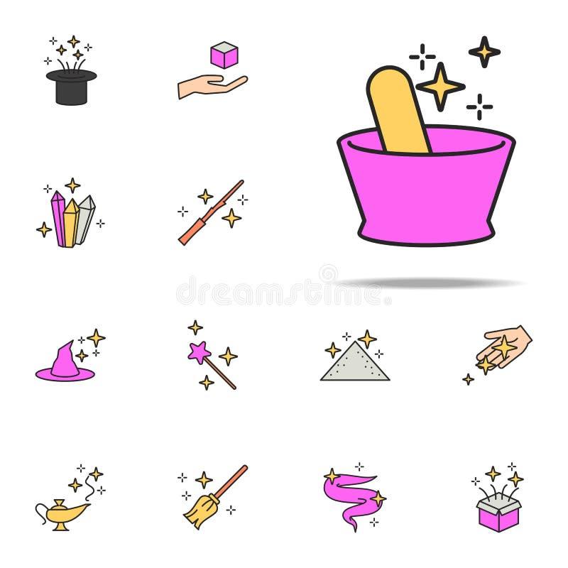 embarcação para o ícone da poção mágica grupo universal dos ícones mágicos para a Web e o móbil ilustração do vetor