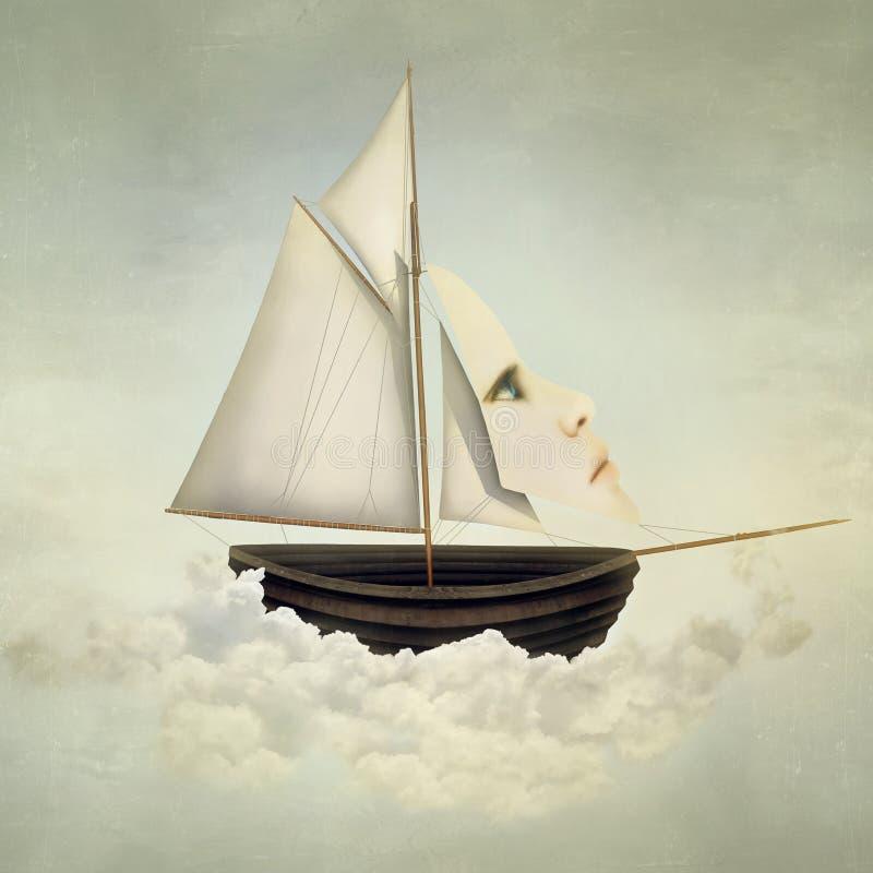 Embarcação surreal ilustração stock