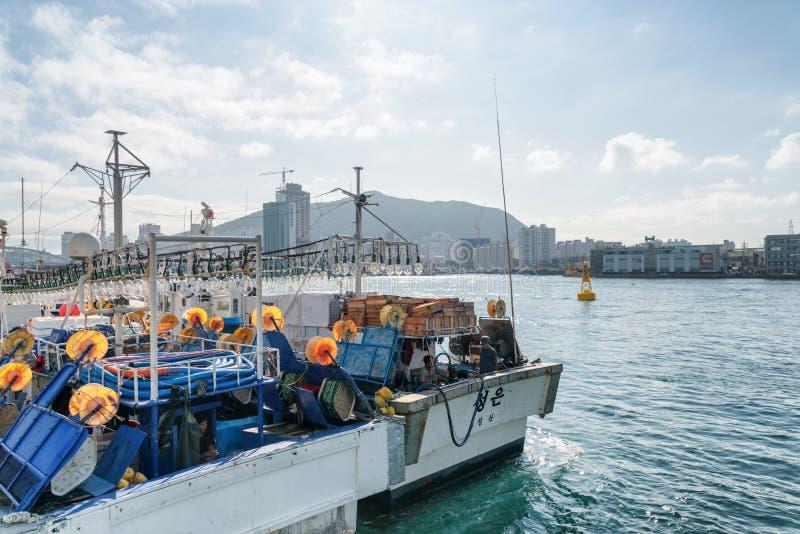 Embarcações de pesca estacionadas no porto de Busan, Coreia do Sul imagem de stock royalty free