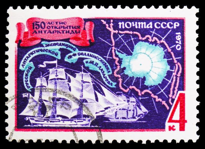 Embarcações de Vostok e de Mirny, mapa do aniversário antártico, 150th de Bellinsgauzen e do serie antártico da expedição de Laza fotos de stock royalty free
