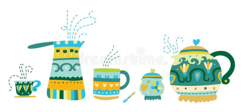 Embarcações decorativas do chá e do café ilustração do vetor