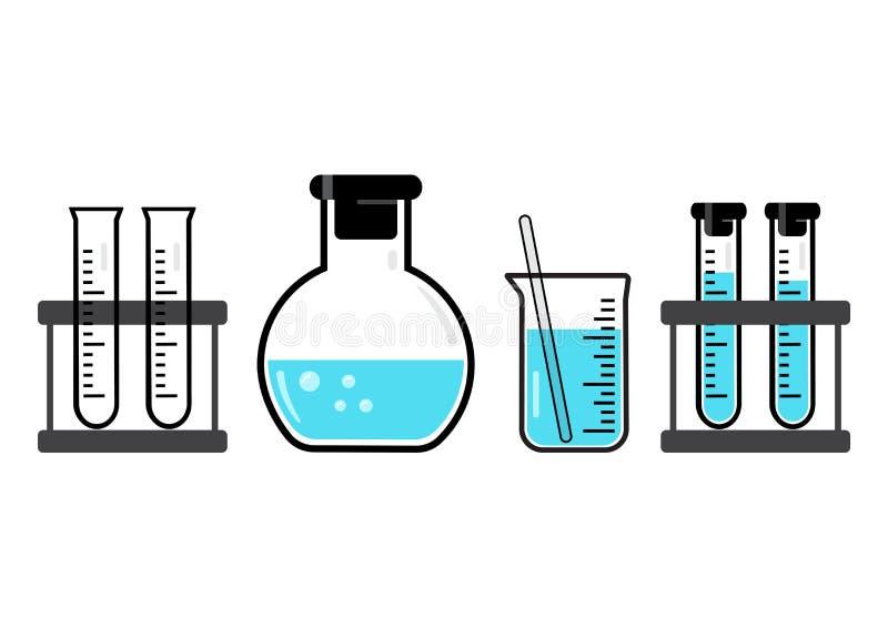 Embarcações e garrafas químicas com líquido azul Vetor ilustração do vetor