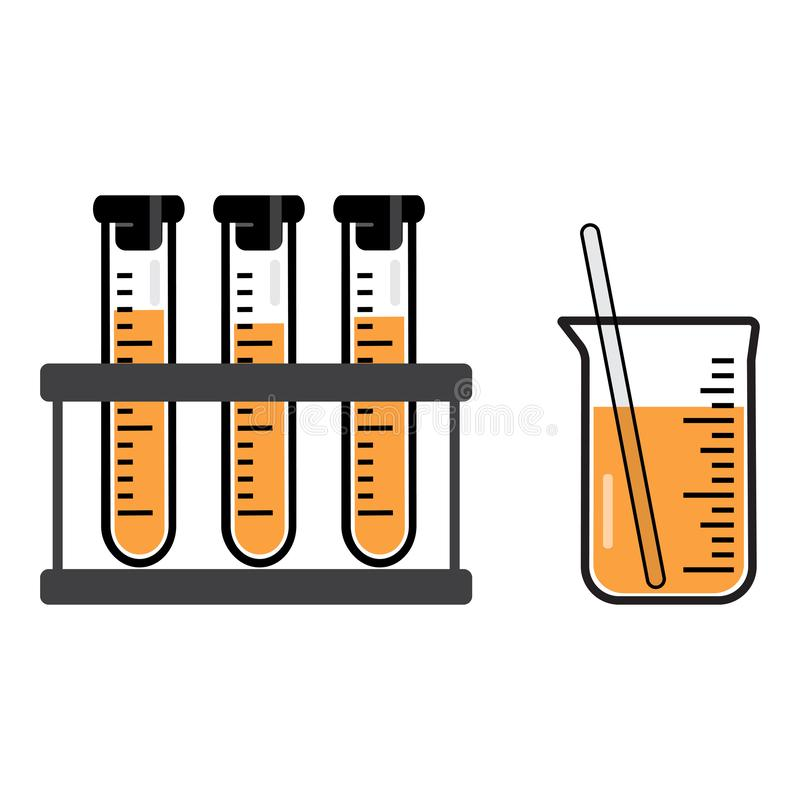 Embarcações e garrafas químicas com um líquido alaranjado Vetor ilustração stock